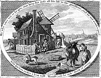 0175910 © Granger - Historical Picture ArchivePOOR RICHARD ILLUSTRATED.   Panel from an engraving, 1795, for Benjamin Franklin's 'Poor Richard Illustrated,' with the motto, 'He who saves not as he gets, may keep his nose all his life to the grindstone, and die not worth a groat. A fat kitchen makes a lean will. Would you be rich? think of saving.'