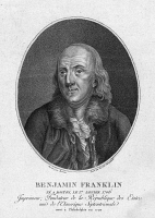 0622028 © Granger - Historical Picture ArchiveBENJAMIN FRANKLIN (1706-1790).   American printer, publisher, scientist, inventor, statesman and diplomat. Engraving by Claude Louis Desrais, c1795.