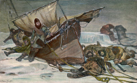 0029936 © Granger - Historical Picture ArchiveSIR JOHN FRANKLIN (1786-1847).   The end of Sir John Franklin's last arctic expedition in search of the Northwest passage, 1847. Engraving, after the painting by W. Thomas Smith.