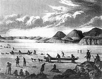 0040334 © Granger - Historical Picture ArchiveJOHN FRANKLIN EXPEDITION.   Sir John Franklin's expedition at Point Lake in the Canadian Arctic in 1821. Engraved plate from Franklin's 'Narrative of a Journey to the Shores of the Polar Sea,' 1823.