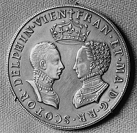 0126895 © Granger - Historical Picture ArchiveFRANCIS II (1544-1560).   King of France, 1559-60. Silver medal commemorating the marriage of Francis II and Mary Stuart, minted in 1558, one year after their wedding.