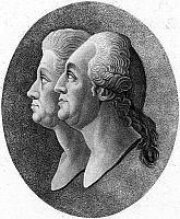 0000997 © Granger - Historical Picture ArchiveJOHANN & GEORG FORSTER.   Johann Reinhold Forster (1729-1798), German clergyman and naturalist, and his son, Georg Forster (1754-1794), German traveler and writer. Aquatint after a medallion etching of 1782.