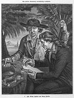 0000998 © Granger - Historical Picture ArchiveJOHANN R. FORSTER   (1729-1798). German clergyman and naturalist, with his son Georg Forster (1754-1794), German traveler and writer, during the second voyage of Captain James Cook c1772. Wood engraving, German, 19th century.