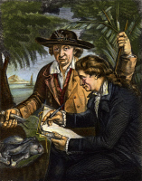 0067333 © Granger - Historical Picture ArchiveJOHANN REINHOLD FORSTER   (1729-1798) and his son Georg (1754-1794) during the second voyage of Captain James Cook, c1772. Wood engraving, German, 19th century.