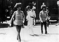 0115083 © Granger - Historical Picture ArchiveFRANZ FERDINAND, 1914.   Archduke Franz Ferdinand (left) and Archduchess Sophie of Austria moments before they were assasinated in Sarajevo, Bosnia, 28 June 1914.