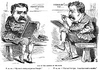 0011978 © Granger - Historical Picture ArchiveJAMES FISK (1834-1872).  American stock-market speculator. An American newspaper cartoon of 1869 published after Fisk's failure to corner the gold market (Black Friday, 24 September 1869).