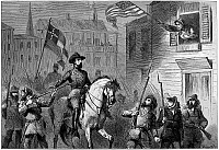 0002059 © Granger - Historical Picture ArchiveBARBARA FRIETSCHIE   (1766-1862). American patriot. Mrs. Barbara Frietschie waving the Union flag above General 'Stonewall' Jackson and his Confederate troops as they marched through Frederick, Maryland, in 1862. Wood engraving, American, 19th century.
