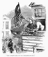 0055704 © Granger - Historical Picture ArchiveBARBARA FRIETSCHIE   (1766-1862). American patriot. Mrs. Barbara Frietschie waving the Union flag above General 'Stonewall' Jackson and his Confederate troops as they marched through Frederick, Maryland, in 1862. Wood engraving, 19th century.