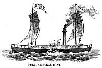 0037285 © Granger - Historical Picture ArchiveROBERT FULTON'S CLERMONT.   Robert Fulton's steamboat, 'Clermont,' built in 1807. Wood engraving, 19th century.