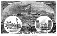 0059543 © Granger - Historical Picture ArchiveROBERT FULTON'S CLERMONT.   Robert Fulton's first steamboat, 'Clermont,' and its machinery. Wood engraving, 19th century.