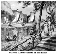 0080009 © Granger - Historical Picture ArchiveROBERT FULTON'S CLERMONT.   Robert Fulton's steamboat, 'Clermont,' steaming up the Hudson River on its first voyage from New York City to Albany, 17 August 1807. Illustration, c1900.
