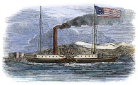 0080292 © Granger - Historical Picture ArchiveROBERT FULTON'S CLERMONT.   Robert Fulton's steamboat, 'Clermont,' built in 1807. Color engraving, 1842.