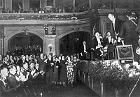 0014229 © Granger - Historical Picture ArchiveWILHELM FURTWAENGLER  (1886-1954). German conductor and composer. Furtwaengler acknowledging the applause of the audience, including Nazi leaders Adolf Hitler, Hermann Goring and Joseph Goebbels in the front row, at a performance of the Berlin Philarmonic at the Berliner Philharmonie, c1935.
