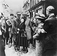 0033183 © Granger - Historical Picture ArchiveDE GAULLE IN NORMANDY, 1944.   General Charles de Gaulle, leader of the Free French forces, being greeted by residents of the town of Bayeux in Normandy following its liberation by Allied forces in World War II, 14 June 1944.