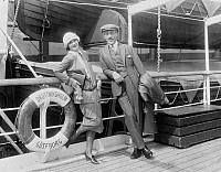 0266370 © Granger - Historical Picture ArchiveGARBO AND STILLER, 1925.   Swedish actress Greta Garbo and Swedish filmmaker Mauritz Stiller aboard the 'Drottningholm' during its first trip to the United States. Photograph, 17 August 1925.