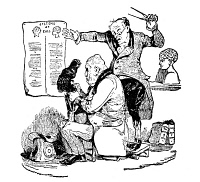 0049073 © Granger - Historical Picture ArchiveFRANZ JOSEPH GALL (1758-1828).   German physician and founder of phrenology. An early 19th century French caricature of Gall staring in consternation at the bumps on the head of Louis Philippe of France, rising as they do in the areas.