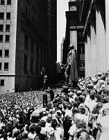 0168632 © Granger - Historical Picture ArchiveBILLY GRAHAM (1918- ).   William Franklin Graham. American evangelist. Graham giving a speech before a large crowd on Wall Street in New York City, July 1957.