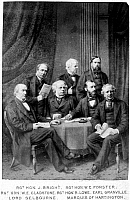 0002162 © Granger - Historical Picture ArchiveWILLIAM EWART GLADSTONE (1809-1898).   English statesman. From left: John Bright, Chancellor of Lancaster; William Edward Forster, chief secretary for Ireland; Robert Lowe; George Levenson-Gower, foreign secretary; Robert Palmer, Lord Chancellor; and Spencer Cavendish, Secretary of State for India. Original cabinet photograph, c1880.