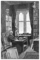 0266304 © Granger - Historical Picture ArchiveWILLIAM EWART GLADSTONE   (1809-1898). English statesman. Gladstone in his library at Hawarden Castle in Flintshire, Wales. Engraving, English, c1898.