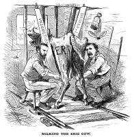 0011980 © Granger - Historical Picture ArchiveJAY GOULD (1836-1892).  American financier. Gould (left) and Jim Fisk milking the Erie Railraod: an American newspaper cartoon of 1869.