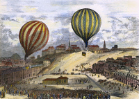 0060999 © Granger - Historical Picture ArchiveLEON GAMBETTA (1838-1882).   French politician. Gambetta escaping by balloon from German-besieged Paris on 7 October 1870. Contemporary colored engraving.
