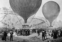 0165589 © Granger - Historical Picture ArchiveLEON GAMBETTA (1838-1882).   French politician. Gambetta (left, with hand on balloon's basket) preparing to board the hot air balloon 'Armand Barbès' at Montmartre, to fly out of besieged Paris to Tours during the Fanco-Prussian War, 7 October 1870. Oil on canvas by Jules Didier (1831-1892) and Jacques Guiaud.