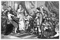 0072509 © Granger - Historical Picture ArchiveGERMANICUS CAESAR, 16 A.D.   Roman general Germanicus Caesar (15 B.C.-19 A.D.) captures Thusnelda, wife of Arminius, following his victory over German forces near the Weser River, 16 A.D. Etching, American, 1900.