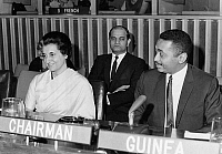 0259926 © Granger - Historical Picture ArchiveINDIRA NEHRU GANDHI   (1917-1984). Indian political leader. Photographed with Guinean delegate Achkar Marof at the United Nations in New York, 1966.