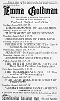0110080 © Granger - Historical Picture ArchiveEMMA GOLDMAN (1869-1940).   Handbill advertising a lecture series by American anarchist Emma Goldman, in Portland, Oregon, 1919.