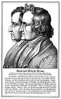0015455 © Granger - Historical Picture ArchiveGRIMM BROTHERS, 19th CENT.   Jakob Grimm (1785-1863) and Wilhelm Grimm (1786-1859). German philologists and folklorists. Line engraving, German, 19th century.