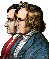 0061817 © Granger - Historical Picture ArchiveJACOB AND WILHELM GRIMM.   Jacob (1785-1863) and Wilhelm (1786-1859) Grimm. German philologists and folklorists. Colored German engraving, 19th century.