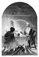 0268664 © Granger - Historical Picture ArchiveNATHANAEL GREENE (1742-1786).   American Revolutionary officer. General Greene taking breakfast at Steele's Tavern in Salisbury, North Carolina, February 1781. Engraving, American, late 19th century.