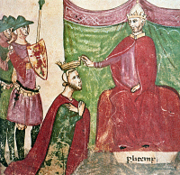 0080978 © Granger - Historical Picture ArchiveROBERT GUISCARD (c1015-1085).   Norman military leader. Robert Guiscard invested by Pope Nicholas II as Duke of Apulia, Calabria, and Sicily, 1059. Detail from a miniature.