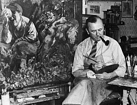 0001701 © Granger - Historical Picture ArchiveGEORGE GROSZ (1893-1959).   American (German born) painter. Painting 'Cain' at Long Island, New York, in 1944.