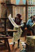 0009521 © Granger - Historical Picture ArchiveJOHANN GUTENBERG   (c1395-1468). German printer. After a painting, 1894, by Jean Leon Gerome Ferris.