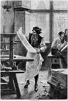 0012784 © Granger - Historical Picture ArchiveJOHANN GUTENBERG   (c1400-c1468). German printer. After a painting, 1894, by Jean Leon Gerome Ferris.