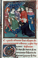 0035565 © Granger - Historical Picture ArchiveHUGH CAPET (c938-996).   King of France, 987-996. Hugh Capet receiving a book from a priest. French manuscript illumination, early 14th century.