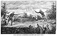 0037539 © Granger - Historical Picture ArchiveHAMILTON-BURR DUEL, 1804.   An artist's reconstruction of the duel fought between Alexander Hamilton and Aaron Burr at Weehawken, New Jersey, on July 11, 1804.