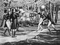 0037540 © Granger - Historical Picture ArchiveHAMILTON-BURR DUEL.   Duel fought between Alexander Hamilton and Aaron Burr at Weehawken, New Jersey, on July 11, 1804.