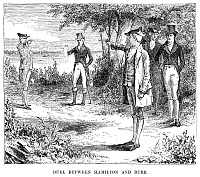 0040626 © Granger - Historical Picture ArchiveHAMILTON-BURR DUEL, 1804.   An artists reconstruction of the duel fought between Alexander Hamilton and Aaron Burr at Weehawken, New Jersey, on 11 July 1804.
