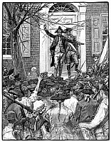 0042756 © Granger - Historical Picture ArchiveALEXANDER HAMILTON   (1755-1804). American lawyer and statesman. Hamilton on the steps of King's (Columbia) College in New York City, addressing the crowd on the cause of liberty, 1775. Wood engraving, American, 1884, after Howard Pyle.