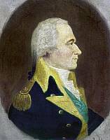 0111494 © Granger - Historical Picture ArchiveALEXANDER HAMILTON   (1755-1804). American politician. Oil on panel attributed to William J. Weaver, late 18th century.