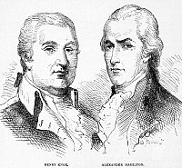 0111499 © Granger - Historical Picture ArchiveKNOX AND HAMILTON.   American Revolutionary officer Henry Knox, with American politician Alexander Hamilton. Wood engraving, American, 1877.