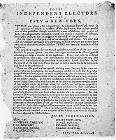 0111621 © Granger - Historical Picture ArchivePRESIDENTIAL ELECTION, 1788.   Broadside issued by Alexander Hamilton and other Federalists to the 'Independent Electors of the City of New York,' encouraging voters not to elect lawyers into the legislature during the election of 1788.