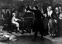 0124958 © Granger - Historical Picture ArchiveGEORGE FREDERICK HANDEL   (1685-1759). German (naturalized British) composer. Handel as a child playing the harpsichord at night, to the surprise of his family. Illustration , early 20th century.