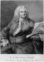 0124970 © Granger - Historical Picture ArchiveGEORGE FREDERICK HANDEL   (1685-1759). German (naturalized British) composer. Copper engraving, English, late 18th century, after a painting, 1748, by Thomas Hudson.