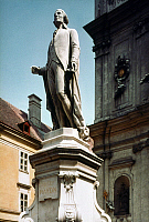 0267762 © Granger - Historical Picture ArchiveFRANZ JOSEPH HAYDN   (1732-1809). Austrian composer. Haydn monument in front of the Church of Mariahilf in Vienna, Austria. Marble, 1887, by Heinrich Natter (statue) and Otto Hieser (pedestal).