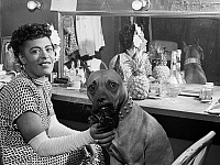 0266987 © Granger - Historical Picture ArchiveBILLIE HOLIDAY (1915-1959).  American singer. In a dressing room with her dog Mister. Photograph by William P. Gottlieb, c1946.