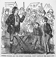 0046651 © Granger - Historical Picture ArchiveJEAN EUGENE ROBERT HOUDIN   (1805-1871). French magician. Wood engraving, c1880, from an American edition of Houdin's Autobiography, depicting his first childhood encounter with a street magician.