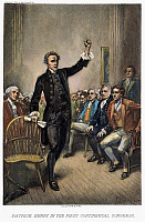 0041860 © Granger - Historical Picture ArchivePATRICK HENRY (1736-1799).   American revolutionary hero and orator. Henry speaking to the First Continental Congress in 1774. After a painting by Jean Leon Gerome Ferris, 1895.